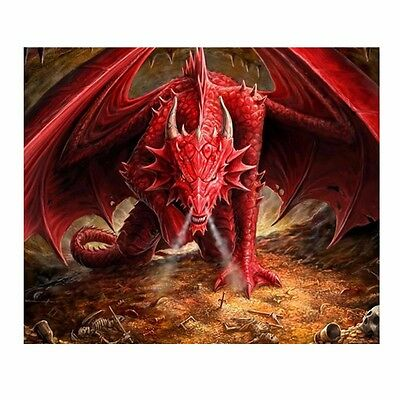 5D 3D Smoking Red Dragon Embroidery Cross stitch Mosaic resin tile picture kit