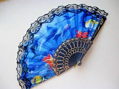"HAND FOLDING FAN "" OCEAN SCENE "" BLACK LACE Perfect"