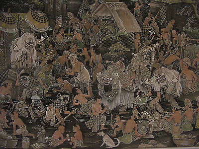 ANTIQUE INDONESIA PAINTING 'CALONARONG-BARONG MASKED DANCE OF BALI' Circa 1900's
