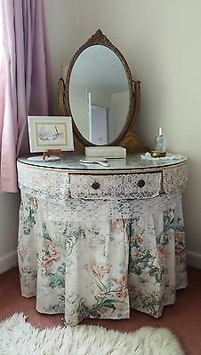 Vintage Dressing table half moon with oval mirror and adjustable lamps, shabby c