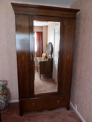 Antique Edwardian Inlaid Mahogany Wardrobe With Mirrored Door