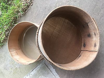 Vintage Pair Of Wooden Flour Sieves/ Sifters Rustic Retro Kitchenalia