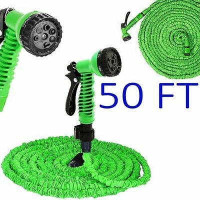 50FT Expanding Expandable Elastic Compact Garden Hose Pipe With Spray Gun UK