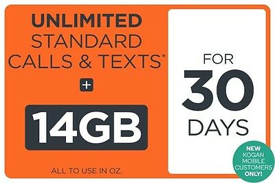 Kogan Mobile Prepaid Starter Pack - EXTRA LARGE - 14GB + UNLIMITED CALLS/TEXTS
