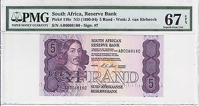 South Africa, ND(1990-94) 5 Rand P119e PMG 67 EPQ