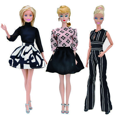 E-Ting 3Sets Casual Clothes Black Jumpsuits Stylish Bubble Dress For Barbie Doll