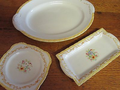 1930s 3 Pieces- 1 Platter 2 Cake Plates in Cream Diana New Hall Hanley England