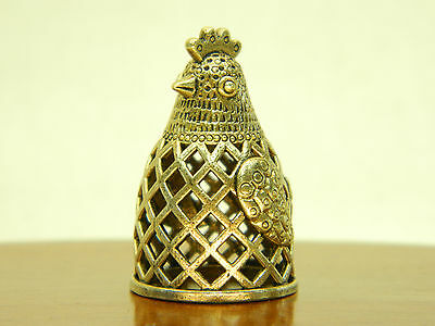 Vintage bras thimble made in 1970 Russian art Magic rooster