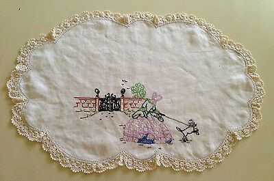 Vintage 1950's Hand Embroidered Doily Crinoline Lady and Poodle - Irish Linen