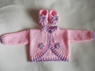 hand knitted  pink and lilac  cardigan and bootees  0 to 3 month size 16""