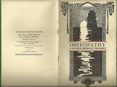 1906 Booklet DR. BROWN OSTEOPATHIC PHYSICIANS Typhoid Fever Cure Waterville ME