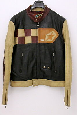 Diesel Industry Leather Biker Men's Jacket Size LARGE Cowhide Motorcycle Coat