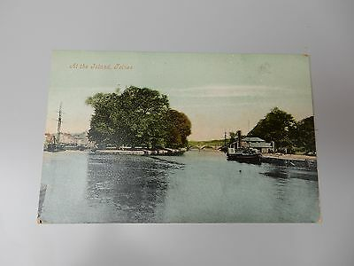 Early Postcard - The Island Totnes-  Devon - paddle steamer