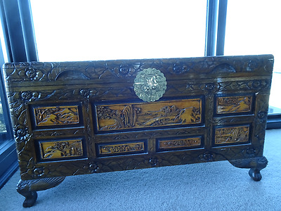 Vintage Chinese carved camphor chest/truck/blanket box