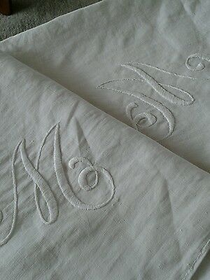 Two Large Antique Vintage White Linen Pillow Cases - Embroidered Initial M
