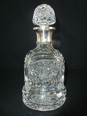 LARGE - Silver Collar And Rim - SHEFFIELD 1954 - CUT GLASS DECANTER