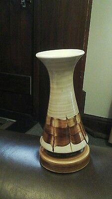 Jersey Pottery C.I. Hand Painted Brown & Cream Flower Vase. Collectible.