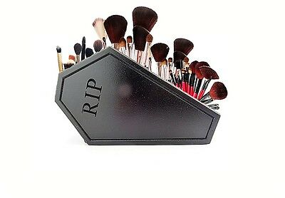 HANDMADE Gothic coffin Makeup and Makeup brush holder storage goth cosmetics