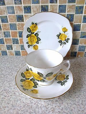Royal Vale Trio Yellow Roses Design Cup Saucer & Side/cake Plate