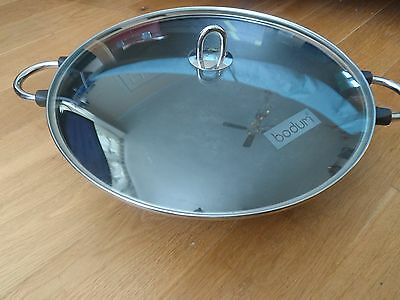 Bodum cast iron Wok with glass lid size 37cm Diameter