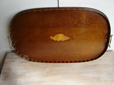 Edwardian Ovoid Inlaid Tray [serving/butlers/Solid brass handles/boxwood inlay]