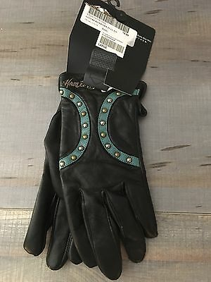 Harley Davidson gloves women black leather New with tags