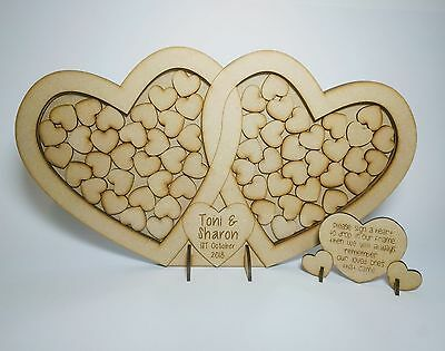 Double Heart Freestandng, Personalised Wedding Drop Box, Guest Book, Mdf