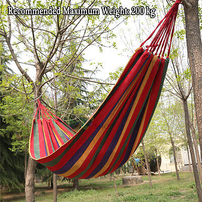 Red Double Cotton Fabric Hammock Air Chair Hanging Swinging Camping 300*150cm AU