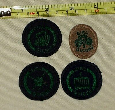 Four  Girl Guide Old Badges Very Vintage Memorabilia joblot collectable