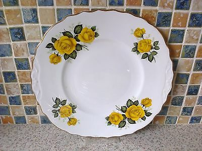 Royal Vale Fancy Cake Serving Plate Yellow Roses Design