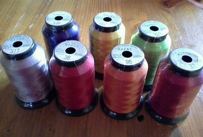 6 x 1000m king star No. 40 machine embroidery thread mixed colours