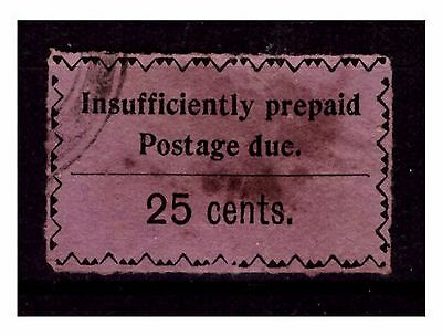 Zanzibar 25 cts Black & Lilac Postage Due. SG:~D25. Used/Filler. #2316