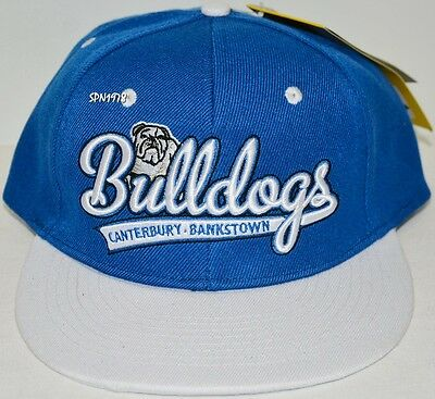 BNWT - Canterbury Bankstown Bulldogs Script NRL Flat Peak Cap - Adults
