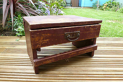 Lovely Vintage Distressed Painted Oak Shoe Box Stool With Drawer