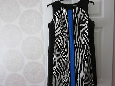 Ladies Debenhams Black/Cream/Blue Linen Blend Dress Size 14 (USED)