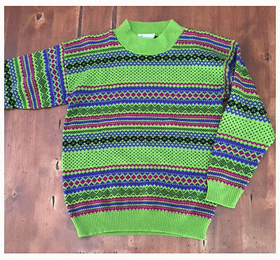 Vintage 80s Teasers Green Knit Sweater Acrylic Excellent Condition Purple Large