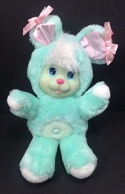 Vintage Mattel Magic Nursery Pets Green Bunny Rabbit Plush Stuffed 1990