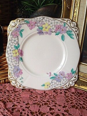 Stunning Pink Floral 1930s handpainted Vintage Tuscan China Cake Plate Wedding
