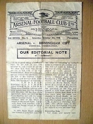 1946 Football Combination Match- ARENAL v BIRMINGHAM CITY, 5 October
