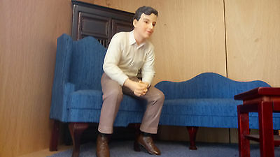 Dolls house figure 1/12th scale poly/resin modern Man sitting