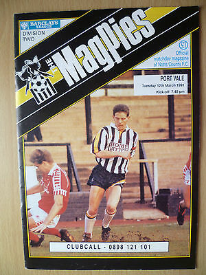 Leg Div Two 1991- NOTTS COUNTY v PORT VALE, Hand Signed by Paul Millar & Other