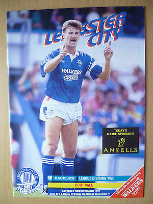 League Division Two 1991- LEICESTER CITY v PORT VALE, Hand Signed by Team Player