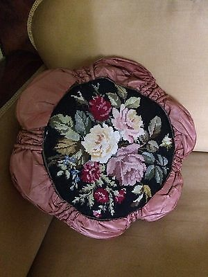 Antique Swedish Victorian Rose Silk Embroidered Pillow Quality Details Ca 1880