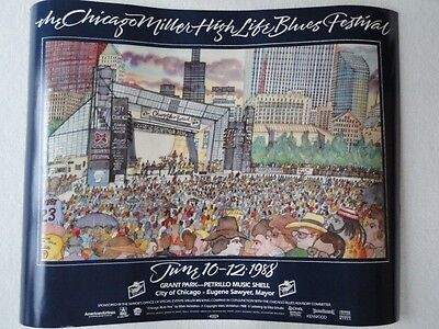 "New Chicago Blues Festival Poster 1988 28"" Wide x 22"" Long Very Nice"