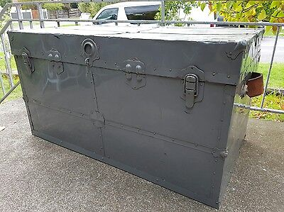 Industrial Travel Trunk Blanket Box, Chest, Storage, Coffee Table can deliver