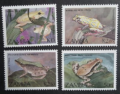 Zambia (1989) Frogs / Red Toad / Marbled Reed Frog / Puddle Frog - Mint (MNH)