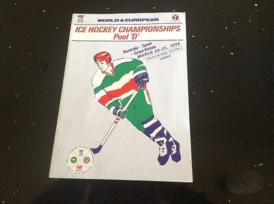 Ice Hockey Programme - Great Britain, Australia, Spain - 1990 - World Champions