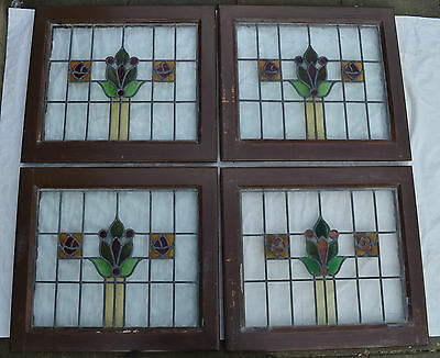 4 British leaded light stained glass windows hardwood. R512a. DELIVERY!!!