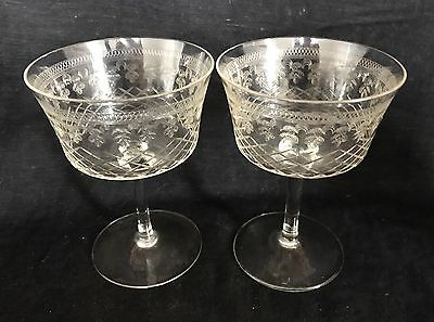 ANTIQUE EDWARDIAN PALL MALL CHAMPAGNE SAUCERS/COUPES x2 Vintage c1910 WEDDING