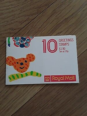 GB 1988 Folded Booklet-Greetings FX10, ten 19p stamps and twelve labels. MNH.